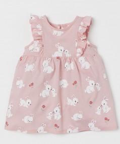 H&M Летнее платье для малышки розовое с кроликами