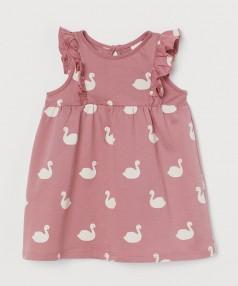 H&M Летнее платье для малышки темно-розовое с белыми лебедяями