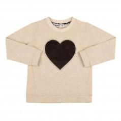 Wanex Свитшот для девочки бежевый с коричневым велюровым сердцем