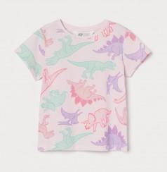 H&M Футболка для девочки розовая с разноцветными динозаврами