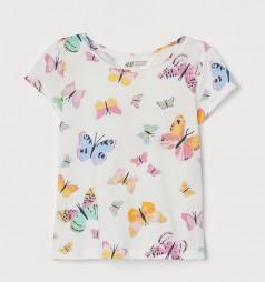 H&M Футболка для девочки белая с бабочками