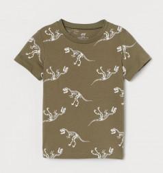H&M Футболка для мальчика хаки скелеты динозавров