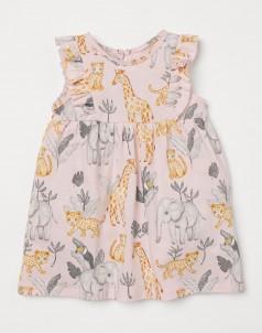H&M Летнее платье для девочки светло-розовая с животными
