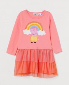 """H&M Платье с длинным рукавом розовое """"Свинка Пеппа"""" с фатиновой юбкой"""