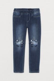 H&M Джеггинсы для девочки синие  с единорогом