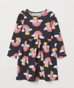 """H&M Платье детское чёрное с принтом """"Peppa pig"""""""