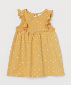 H&M Летнее платье для малышки горчичное в горох