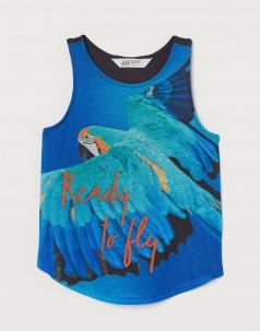 H&M Майка голубая с попугаем