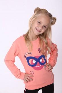 Wanex Свитшот для девочки оранжевый со смайлом в очках