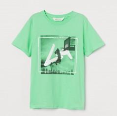 H&M Футболка для мальчика зеленая с принтом