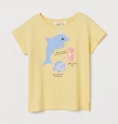 H&M Футболка для девочки желтая с морскими животными