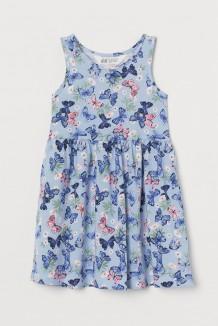 H&M Сарафан для девочки голубой с бабочками