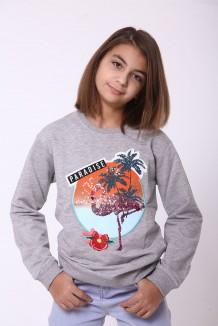 Wanex Свитшот для девочки c фламинго серый