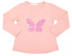 Breeze girls & boys Футболка с длинным рукавом для девочки персиковый с пайетками в виде бабочки
