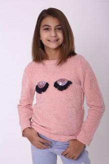 Breeze girls & boys Свитер для девочки вязаный розовый с ресницами