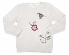 Breeze girls & boys Свитер для девочки серый с птичками и цветами вязаный