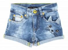 Wanex Шорты для девочки джинсовые с кошкой