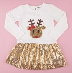 Wanex Платье с длинным рукавом новогоднее с оленем бело-золотое и фатиновой юбкой