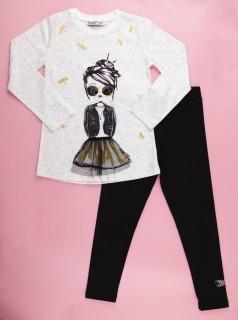 Wanex Костюм для девочки белый лонгслив с принтом и чёрные леггинсы