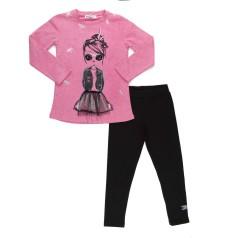 Костюм для девочки розовый лонгслив и чёрные леггинсы