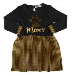 Wanex Платье с длинным рукавом для девочки темно-серое с лапкой