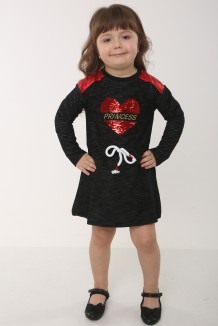 Wanex Платье с длинным рукавом для девочки черное с сердцем и пайетками-перевёртышами