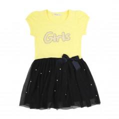 Breeze girls & boys Платье для девочки жёлтое с бусинами и синей фатиновой юбкой