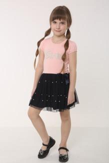 Платье для девочки розовое с бусинками и тёмно-синей фатиновой юбкой