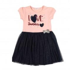 """Breeze girls & boys Платье для девочки """"Love summer"""" розовое с темно-синей фатиновой юбкой"""