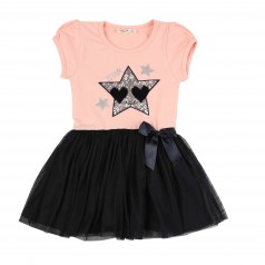 Breeze girls & boys Платье для девочки светло розовое с темно-синей фатиновой юбкой и пайетками