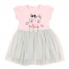 Breeze girls & boys Платье для девочки розовое с кошечкой и серой фатиновой юбкой