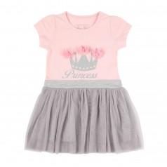 Breeze girls & boys Платье для девочки с короной и серой фатиновой юбкой