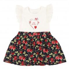 Сарафан для девочки белый с юбкой в мелкие цветы