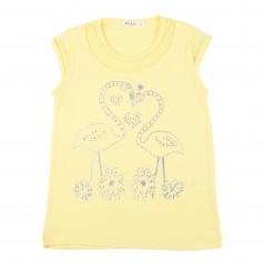 Breeze girls & boys Футболка для девочки с фламинго жёлтая