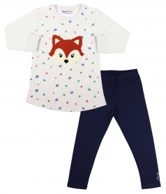 Wanex Костюм для девочки тёплый серо-синий с лисичкой