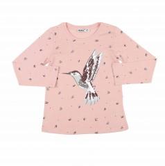 Wanex Футболка с длинным рукавом для девочки розовая с птичками