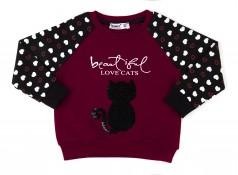 Свитшот-реглан для девочки бордовый с котом и пайетками-перевертышами