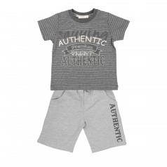 Breeze girls & boys Комплект для мальчика серый шорты с карманами и футболка