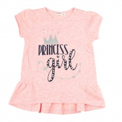 "Breeze girls & boys Футболка розовая ""Princess girl"" с жемчужинками"