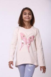 Wanex Футболка с длинным рукавом для девочки бежевая с бабочкой пайетки-перевертыши