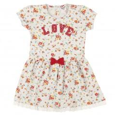 Wanex Платье для девочки серое в цветах с красным бантиком