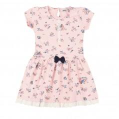 Wanex Платье для девочки розовое с цветами и бантиком