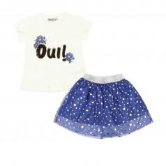 """Wanex Комплект для девочки """"Oui!"""" белая бутболка с пайетками и синяя фатиновая юбка в сердечках"""
