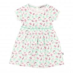 Платье для девочки белое с розовыми цветами