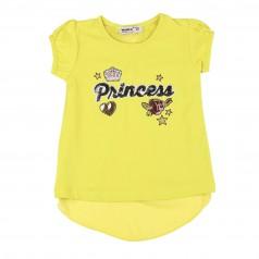 """Wanex Футболка для девочки лимонная """"Princess"""" с бантиком на спинке"""