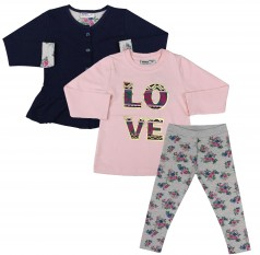 """Wanex Костюм для девочки """"Love"""" темно-синий кардиган розовый реглан и серые леггинсы с цветами"""