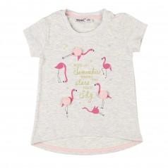 Футболка для девочки серая с фламинго и пампонами