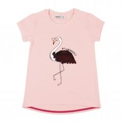 Wanex Футболка для девочки розовая с фламинго и пайетками-перевёртышами
