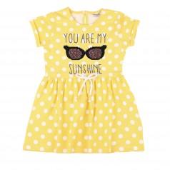 Wanex Платье для девочки желтое в горох с очками