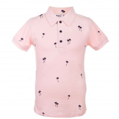 Футболка поло для мальчика розовая с мелким принтом